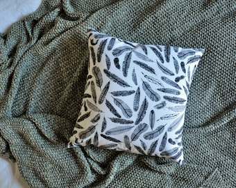 Feathers Cushion Cover, Throw Pillow Cover, Throw Cushion Cover, Decorative Cushion Cover, Decorative Pillow Cover - White & Black