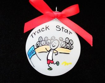 Track ornaments,Track custom personalized ornament,Track,runner,track and field,high school,high jump,gift for track star,sports star,sports
