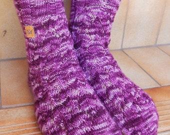 Hand Knitted Socks, wool socks, womens socks, knitted in Australia, lace socks