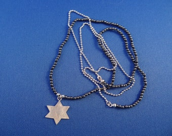 Free Shipping* Sweet Star Necklace with Hematite & Sterling Silver