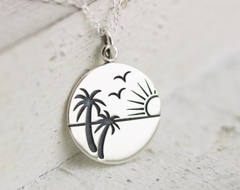 Beach Necklace - Sterling Silver Sunset in Paradise Beach Necklace - Beach Jewelry - Tropical Necklace - Sunset Necklace