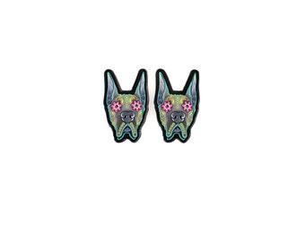 Great Dane Earrings - Cropped Ear Edition - Day of the Dead Sugar Skull Dog Earrings