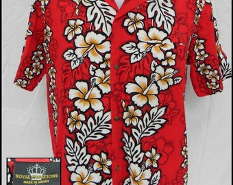 Royal Creations Men's Hawaaian shirt size L Red and white Hibiscus