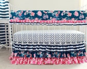 Pink and Navy Girl Crib Bedding, Stripe and Floral Mix, Ruffle Baby Girl Bedding, Bumperless crib set, Navy Stripe nursery