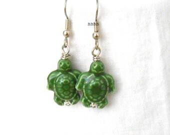 Happy Turtle Earrings Green Earrings Ceramic Earrings Beaded Earrings Drop Earrings Dangle Earrings Surgical Steel Earrings