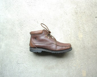Vintage 80's brown leather chukka boots, brown hiking boots, women's size 10