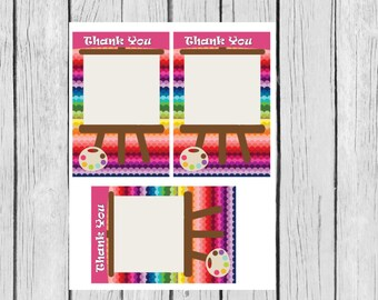 Art Party Thank You Notes, Art Party Supplies, Art Party Printables, Art Birthday Printables, Art Party Supplies,Instant Download PDF 8.5x11