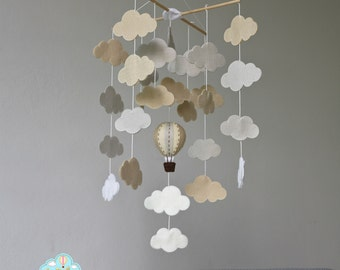 READY TO SHIP mutual cloud bank baby mobile - clouds mobile - hot air balloons & clouds baby mobile- up in the sky - mutual nursery - up