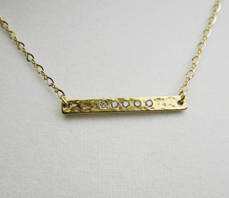horizontal gold bar necklace cz gold bar necklace hammered. Black Bedroom Furniture Sets. Home Design Ideas