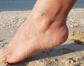 Lotus Anklet, Available in Sterling Silver, Gold and Rose Gold, Yoga Jewelry