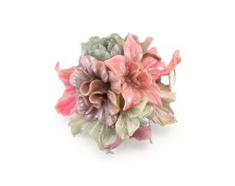Vintage Celluloid Flower Brooch, Flower Bunch, Neutral, Pastel Colors