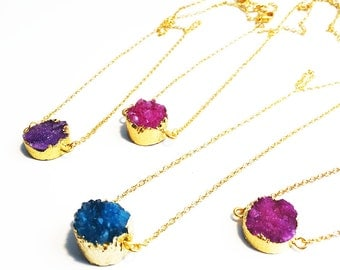 Druzy Necklace, Gold Plated Druzy Necklace, Charm Necklace, Layering Necklace, Round Druzy Necklace, Gold Druzy Pendant Necklace