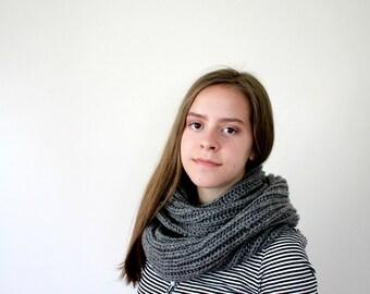 Handknit Women's Winter Cowl // Infinity Scarf { heather gray }