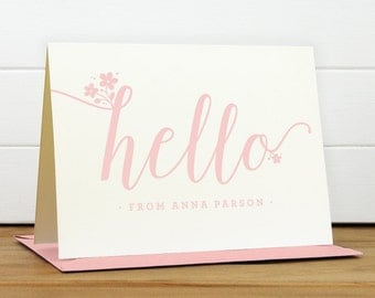 Personalized Stationery Set / Personalized Stationary Set - HELLO Custom Personalized Note Card Set - Feminine Flower