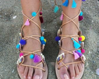 Boho sandals, gladiator sandals, Decorated Sandals, pom pom sandals