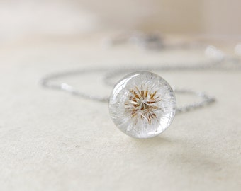 Dandelion Resin Necklace - Small Ball dandelion seeds Necklace - Whole Dandelion