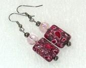 Red & Gray Swirled Stone Earrings - Handmade Dangle Earrings, Nickle-Free Ear Wires, Handmade in the USA, Ready to Ship