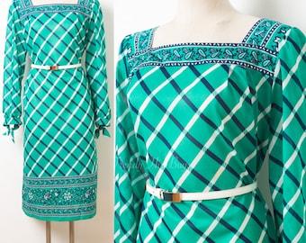 Vintage Green Dress, 70s Dress, Vintage plaid Dress, Vintage Sheer Dress, 70s Secretary Dress, stripe Dress, plus size dress - XL/1XL
