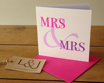 Girlfriend Love Card, Lesbian Card, Mrs & Mrs, Lesbian Couple, Lesbian Engagement, Lesbian Wedding, Lesbian Girlfriend, LGBT Card