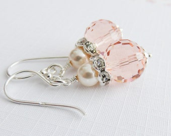 Peach earrings, sterling silver pearl earrings, peach with ivory, Swarovski elements, wedding jewelry, maid of honor gift