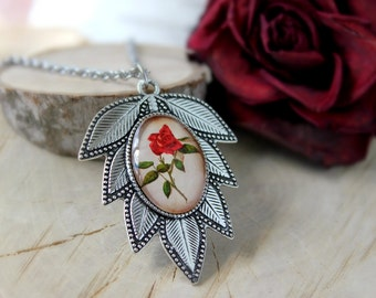 Gentle Vintage Rose Flower, Silver Plated Pendant, Glass Cabochon Pendant With Chain