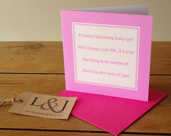 Funny baby card - baby girl card - funny baby gift - baby girls congratulations - baby shower gift - new baby girl - baby - cards