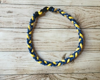 Titanium Tornado Sports necklace- Navy Blue Yellow Chargers Michigan Wolverines