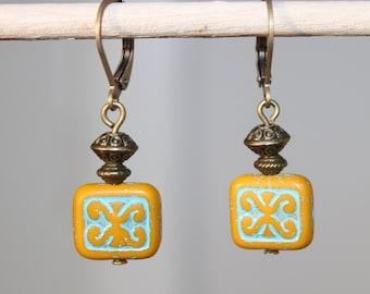 Turquoise Earrings Mustard Yellow Earrings Czech Glass Earrings Picasso Dangle Boho Chic Jewelry SMALL Earrings gift Idea Gift For Her