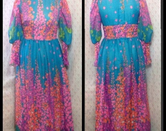 Spectacular 1960's polyester floral chiffon border print hostess/patio/maxi/flower power/baby doll dress with shirred waist