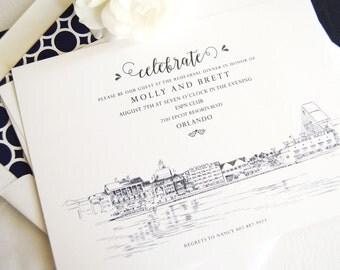 Boardwalk Resort Skyline Rehearsal Dinner Invitations (set of 25 cards)