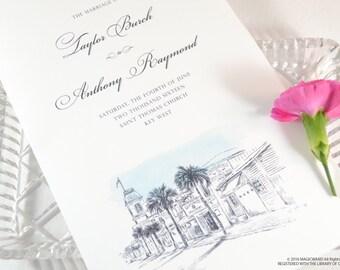 Key West Skyline Destination Wedding Programs (set of 25 cards)