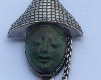 Vintage Los Ballesteros Sterling Carved Turquoise Face Pin