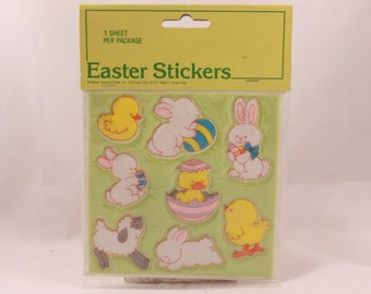 Gibson Greetings Easter Bunny Puffy Vinyl Stickers. 1 Sealed Sheet