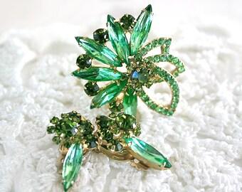 Juliana Green Rhinestone Brooch, Rhinestone Earrings, Vintage Jewelry Set