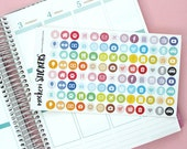104 Icon round stickers / Planner Stickers / Sticker Sheet