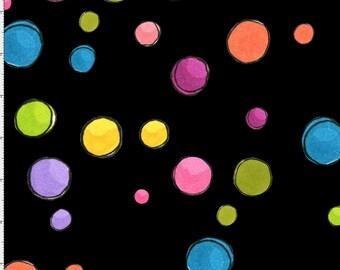 Loralie Dream Dots Black Cotton Fabric BTY