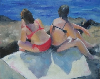 Original Small Oil Painting of Sunbathers on the Beach