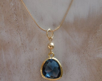 Gold filled chain with Crystal pendant, sparkling blue!