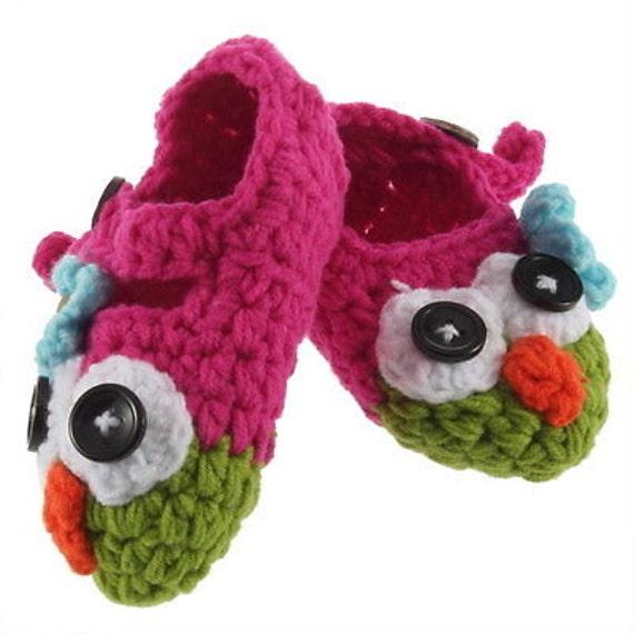 Crochet Owl Baby Booties Pattern : Baby girl crochet owl booties Newborn-6 by ...