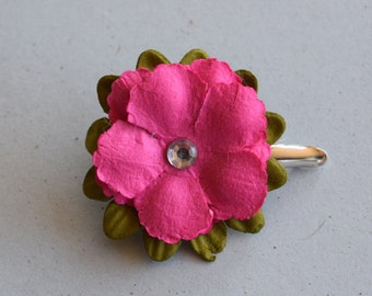Pink Paper Poppy Hair Clip