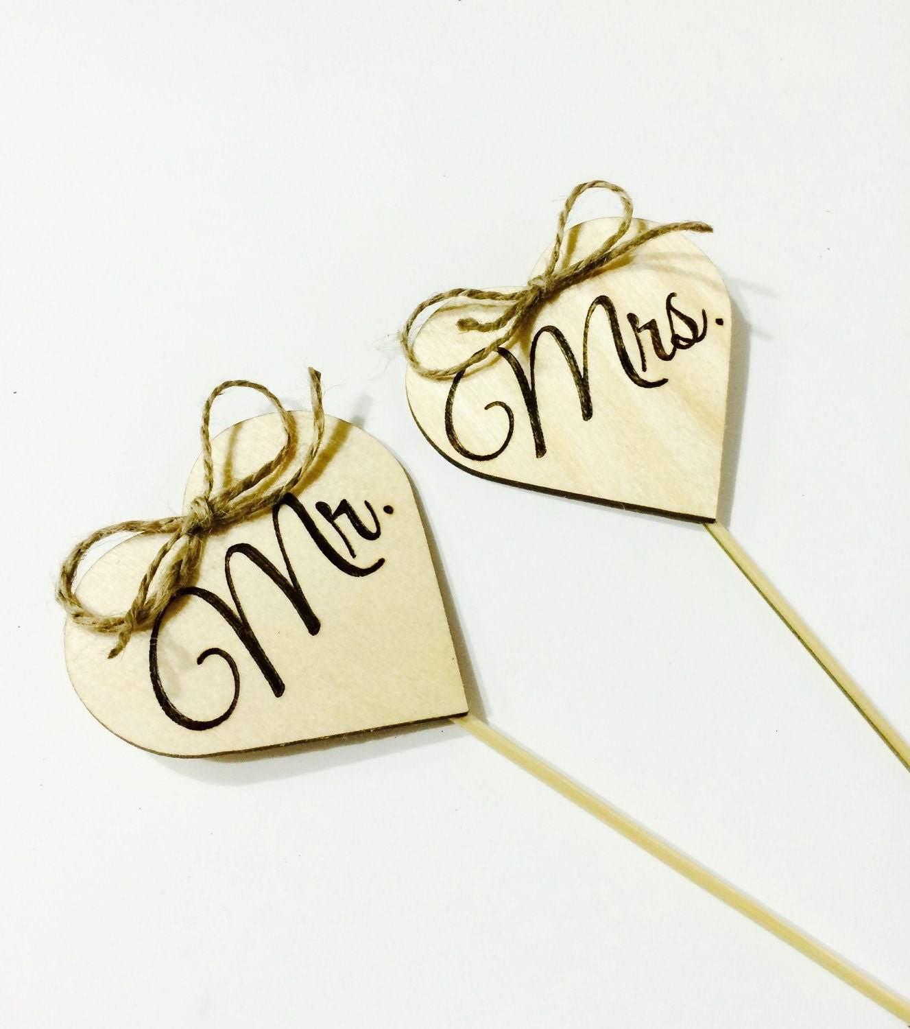 Rustic wedding cake topper Mr & Mrs from wood hearts and twine ...