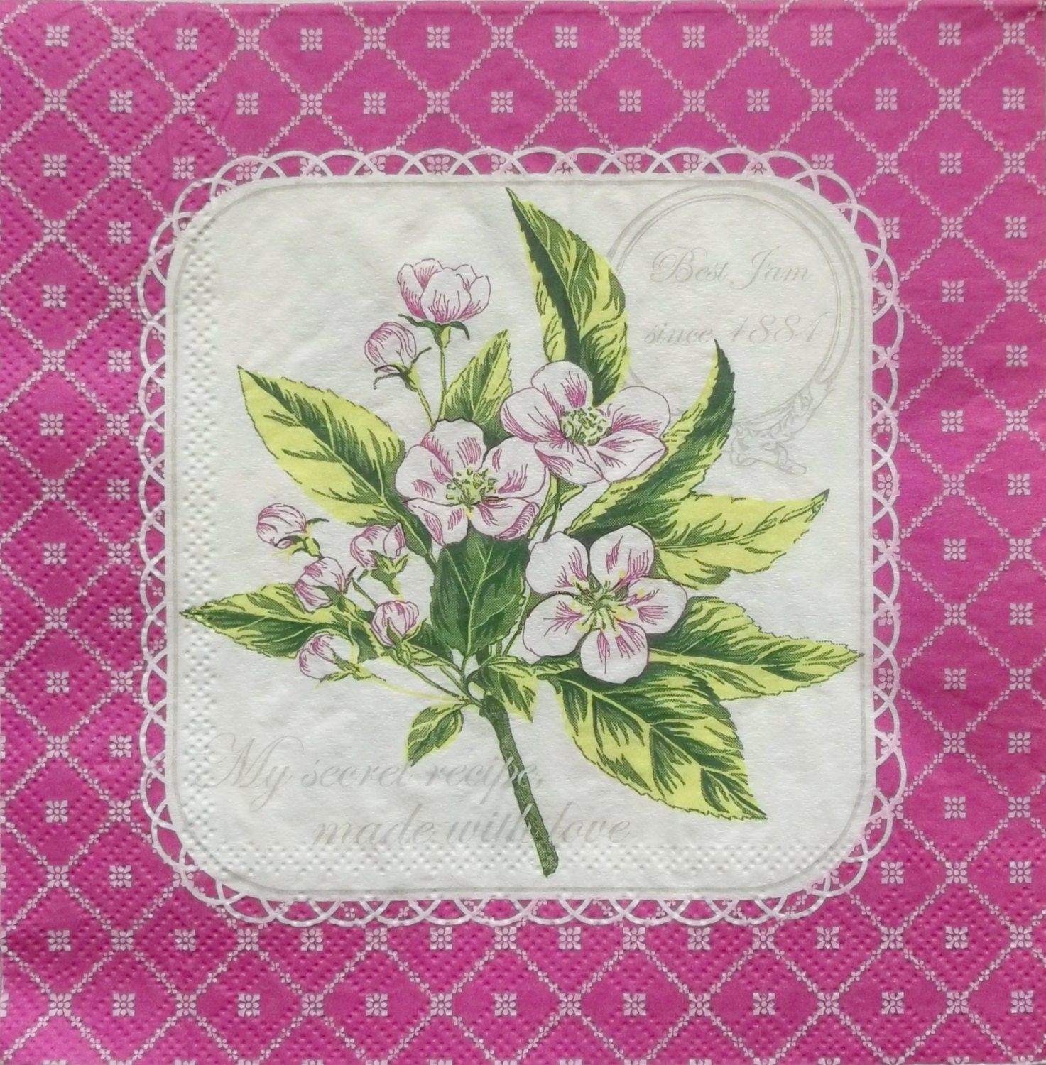 Monogram Paper Napkins Uk: Set Of 2 Pcs 3-ply Flowers In Pink Paper Napkins For Decoupage