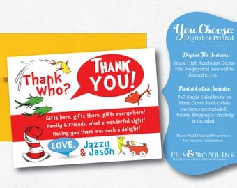 Dr. Seuss | Thank You Card | One Fish Two Fish | New Fish Thank You | Dr. Suess New Fish Invite | Party Invitation
