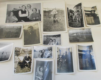 Grab Bag of 22 Mixed Vintage British Black and White Photographs ~ People/Places/Scenery