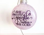 "Glitter Christmas Ornament - She leaves a little sparkle wherever she goes - Lavender Glitter - 4"" Ornament - Glass Ornaments - Purple"