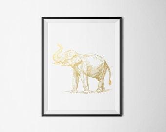 Elephant Foil Print REAL FOIL