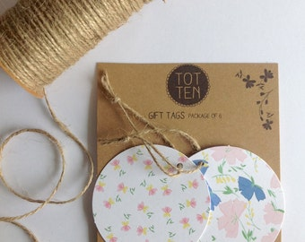 Package of 6 oversized circle gift tags