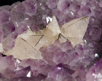 A BIG! Polished AMETHYST Crystal Cluster with Nice CALCITE Crystals! 2300gr