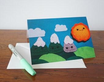 Crochet mountain greeting card, sunshine, Summer card