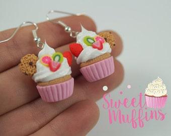 pink cupcake earrings,Miniature Food, Polymer Clay Miniatures, Fake Food Miniature,sweet jewelry